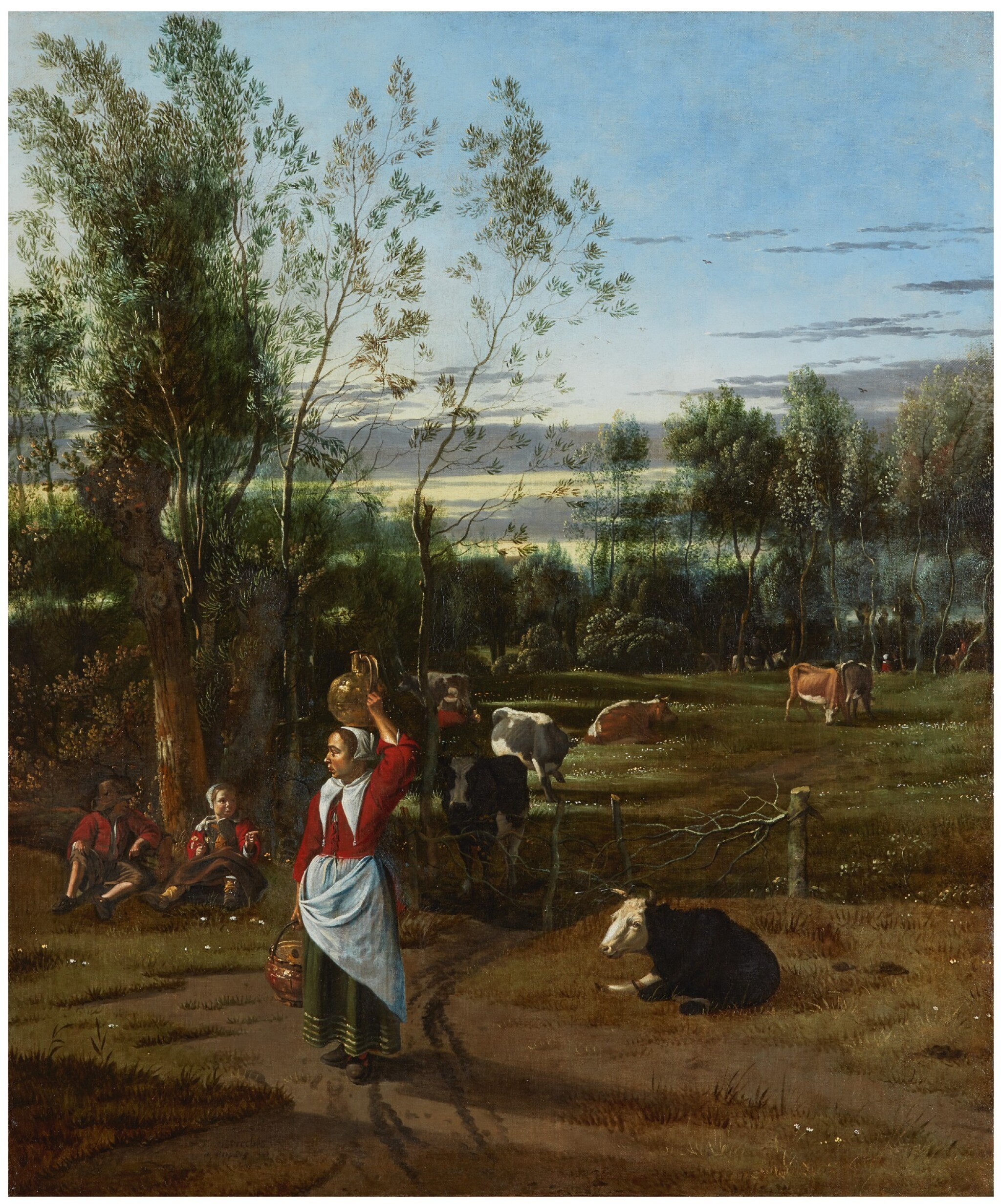View full screen - View 1 of Lot 126. JAN SIBERECHTS  |  A MILKMAID AND CHILDREN IN A FIELD, CATTLE GRAZING BEYOND .