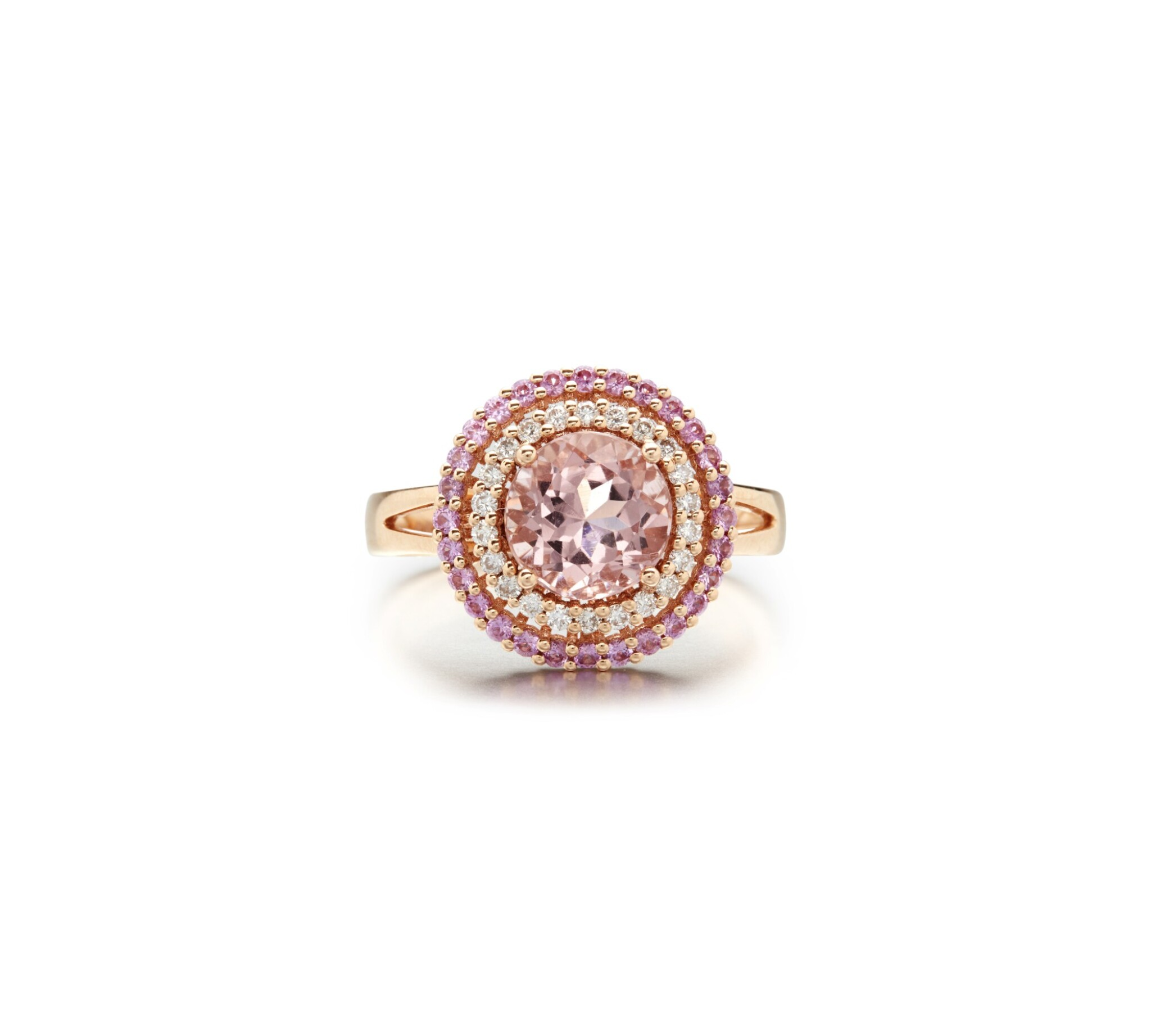 View full screen - View 1 of Lot 3. MORGANITE, PINK SAPPHIRE AND DIAMOND RING.