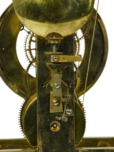 View 3. Thumbnail of Lot 136. A brass skeleton clock with weight-driven constant force escapement, Gioachino Alberti, Milan, dated 1834.