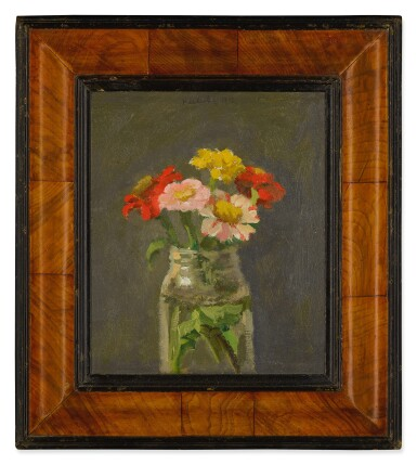 ROBERT M. KULICKE | ZINNIAS IN GLASS JAR ON DARK GREY BACKGROUND