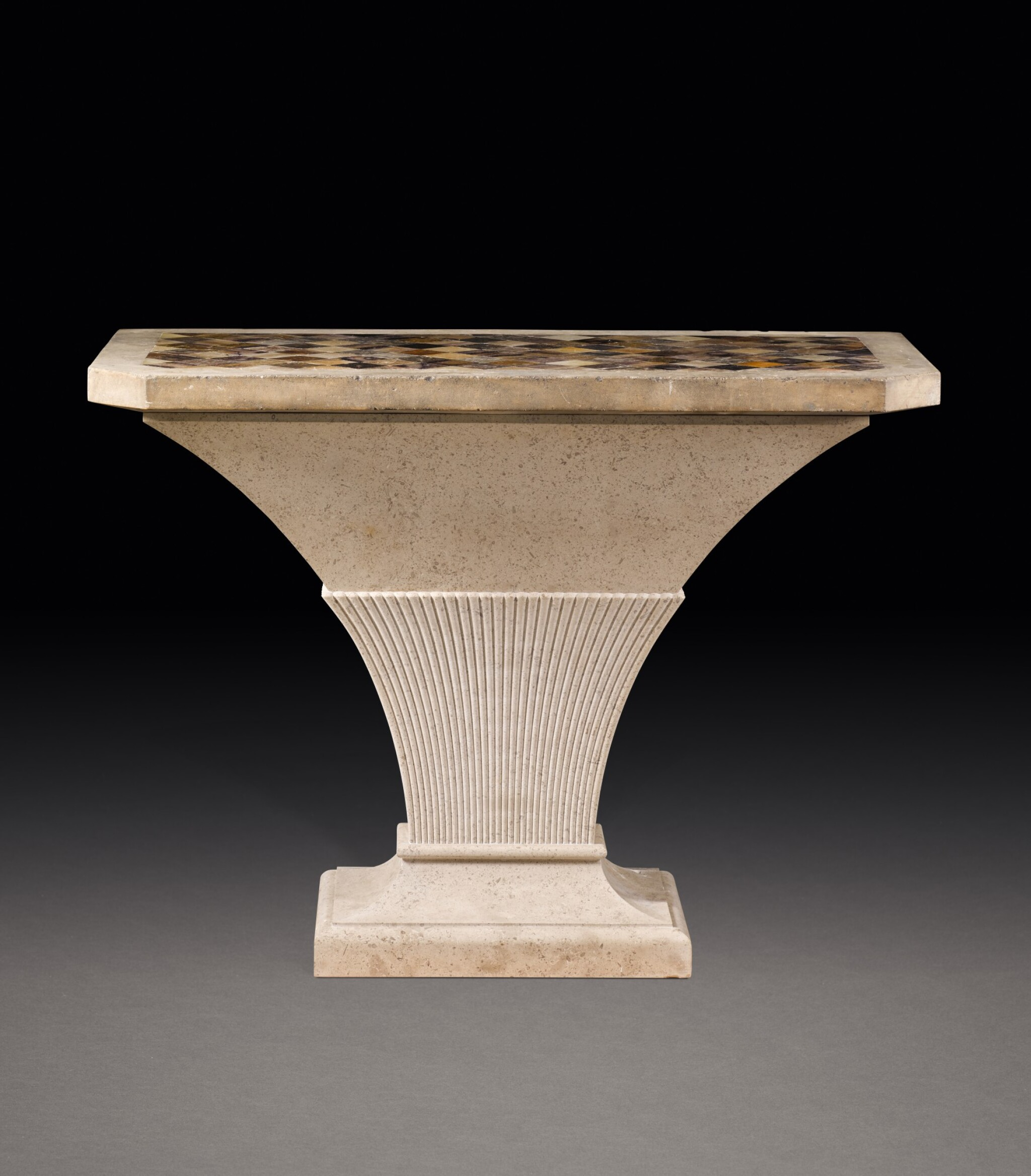View full screen - View 1 of Lot 150. A GEORGE III PORTLAND STONE, BLUE JOHN, SPECIMEN MARBLES AND FOSSILISED LIMESTONE TABLE, THE TOP LATE 18TH/EARLY 19TH CENTURY, THE STAND MODERN.