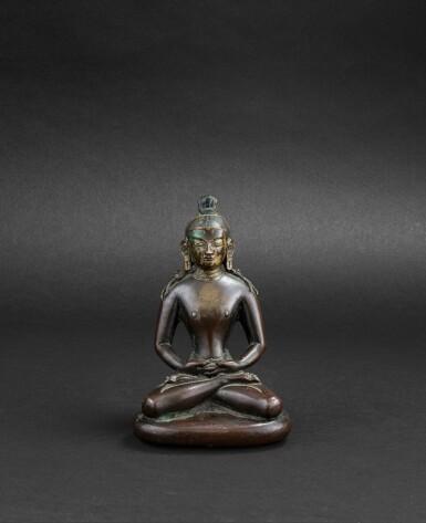 View 1. Thumbnail of Lot 33. Figure de Bouddha en bronze partiellement laqué or Dynastie Qing, XVIIIE siècle | 清十八世紀 局部漆金銅佛坐像 | A partly lacquer-gilt bronze figure of Buddha, Qing Dynasty, 18th century.