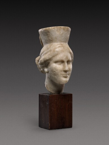 View 2. Thumbnail of Lot 92. A Late Hellenistic Marble Head of a Goddess, probably Kybele, 2nd/1st Century B.C..
