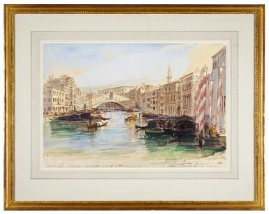View 2. Thumbnail of Lot 87. The Grand Canal looking towards the Rialto Bridge, Venice.