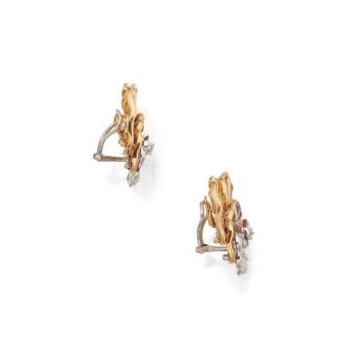 View 2. Thumbnail of Lot 38. Pair of Gem-Set and Diamond Earclips.