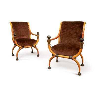 A PAIR OF FRENCH DIRECTOIRE MAHOGANY AND EBONISED WOOD FAUTEUILS EN CURULE ATTRIBUTED TO JACOB, CIRCA 1800