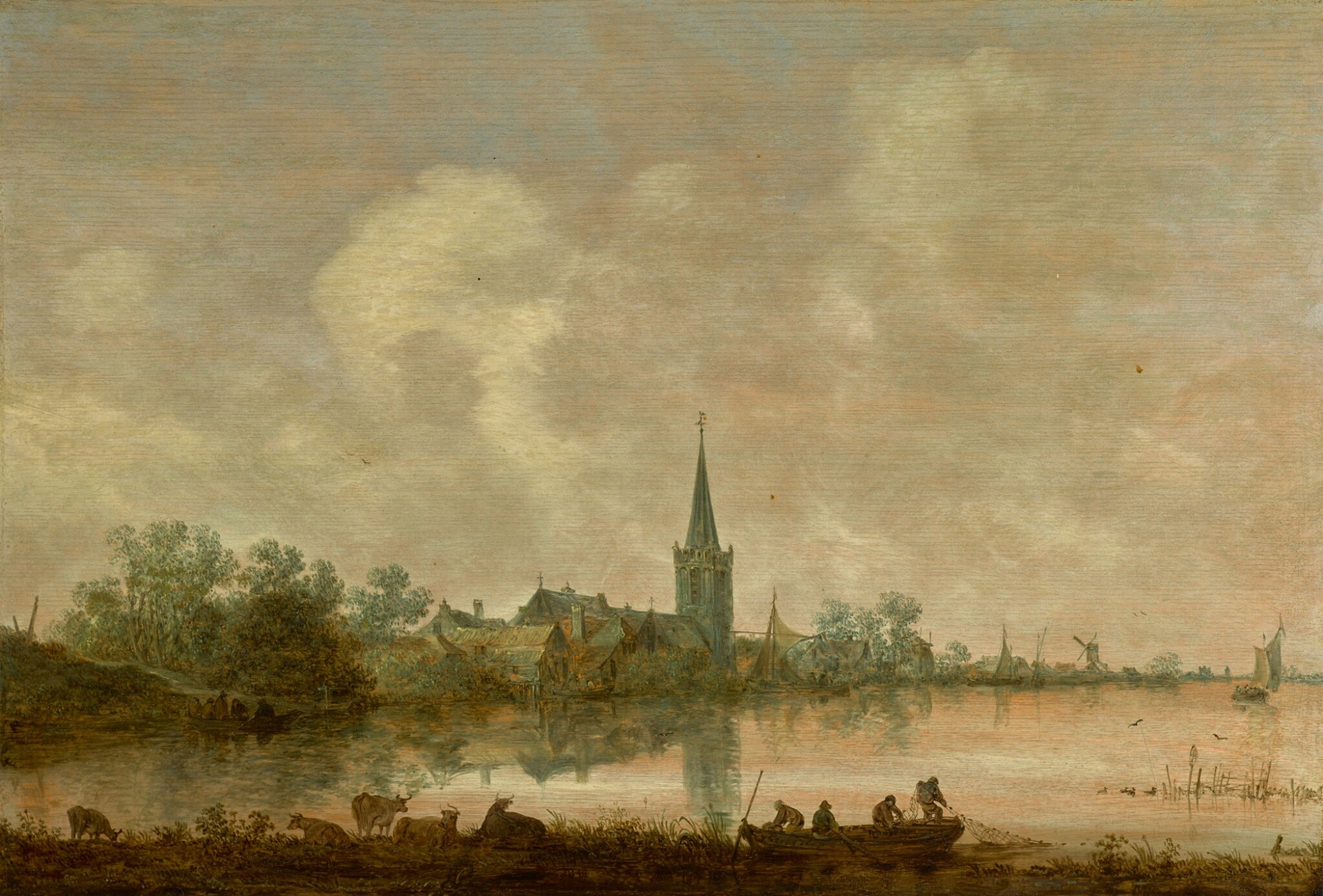 View full screen - View 1 of Lot 132. JAN JOSEFSZ. VAN GOYEN | RIVER LANDSCAPE WITH A VILLAGE AT THE WATER'S EDGE, CATTLE AND FIGURES IN THE FOREGROUND .