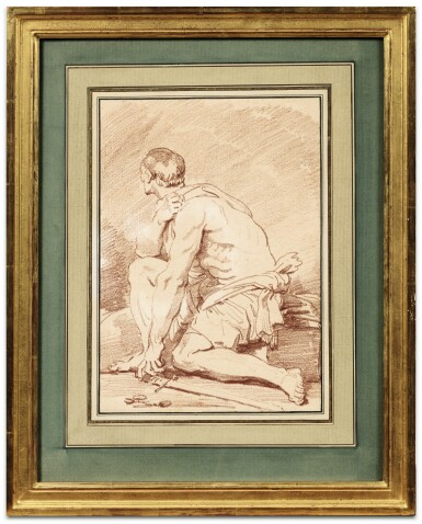 View 2. Thumbnail of Lot 61. A seated gladiator seen in profile.