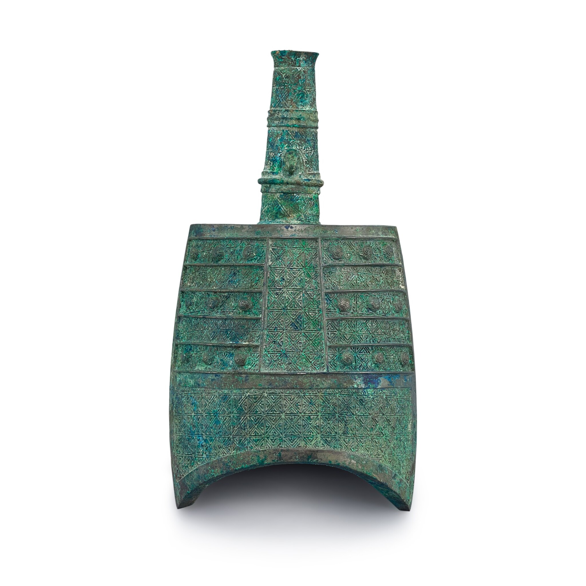 View full screen - View 1 of Lot 1007. A MINIATURE ARCHAIC BRONZE BELL WARRING STATES PERIOD | 戰國 青銅袖珍形鐘.
