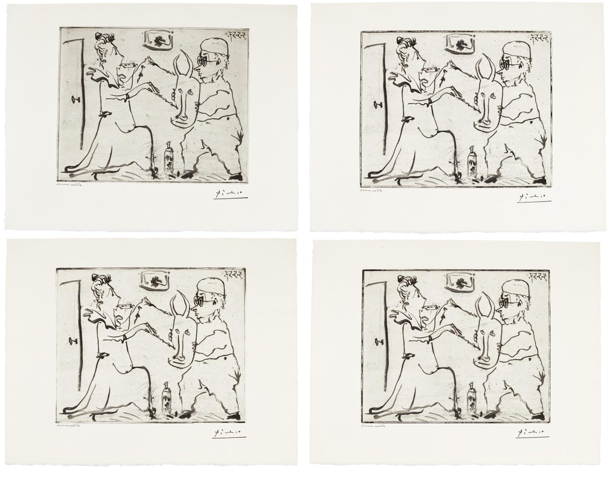 View full screen - View 1 of Lot 174. PABLO PICASSO   FOUR WORKS: HISTOIRE DE SABARTÉS ET DE SA VOISINE: LES BANDERILLES (BA. 968).