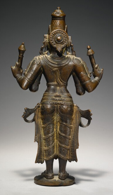 View 2. Thumbnail of Lot 357. A COPPER ALLOY FIGURE OF VISHNU SOUTH INDIA, VIJAYANAGAR, 15TH CENTURY.