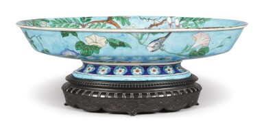 A THÉODORE DECK FAÏENCE TURQUOISE-GROUND LARGE CENTERPIECE