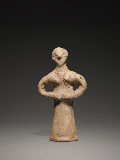 A VINCA TERRACOTTA FIGURE OF A WOMAN, NEOLITHIC PERIOD, VINČA-PLOČNIK-PHASE, VINČA C-D, 5000-4500 B.C.