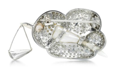 View 3. Thumbnail of Lot 276.  GEOFF ROWLANDSON | CULTURED PEARL AND DIAMOND BROOCH, 'SPECIAL DELIVERY'.