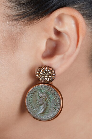 View 2. Thumbnail of Lot 202. Pair of Ancient Coin and Colored Diamond Pendant-Earclips.