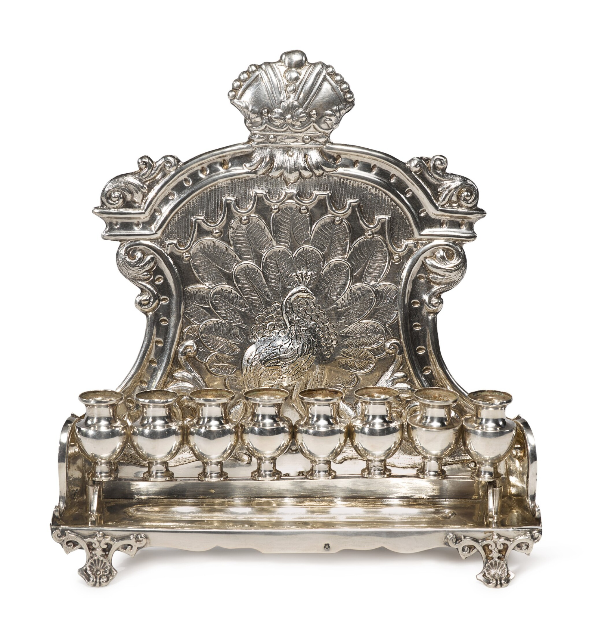 View full screen - View 1 of Lot 125. AN AUSTRIAN SILVER HANUKAH LAMP, MAKER'S MARK CW PROBABLY FOR CARL WARMUTH JR., VIENNA, EARLY 20TH CENTURY.