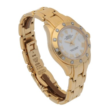 View 3. Thumbnail of Lot 194. PEARLMASTER, REF 69318 YELLOW GOLD AND DIAMOND-SET WRISTWATCH WIHT DATE AND BRACELET CIRCA 1995.