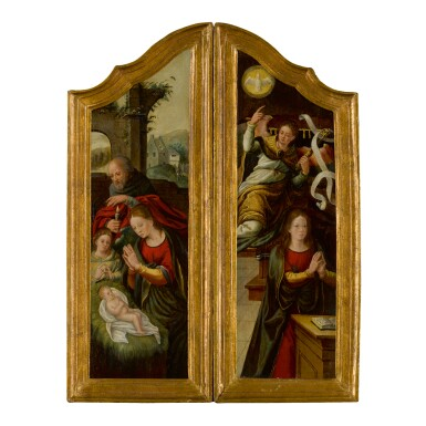 ANTWERP SCHOOL, CIRCA 1560-1570 | WINGS OF A TRIPTYCH:    THE NATIVITY;   THE ANNUNCIATION