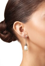 PAIR OF NATURAL PEARL AND DIAMOND EARRINGS