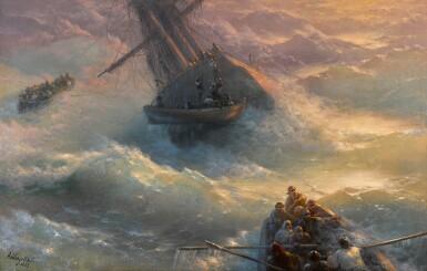 View 1. Thumbnail of Lot 5. IVAN KONSTANTINOVICH AIVAZOVSKY   Abandoning Ship.