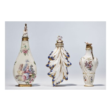 TWO CHELSEA PORCELAIN SCENT BOTTLES AND STOPPERS CIRCA 1755