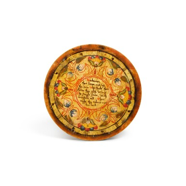 View 14. Thumbnail of Lot 1. A set of twelve Elizabethan polychrome decorated sycamore roundels, late 16th/early 17th century.