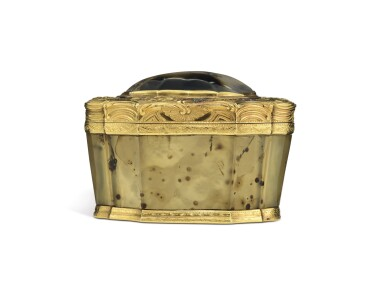 View 3. Thumbnail of Lot 26. A three-colour gold and hardstone snuff box, Paris, 1756.