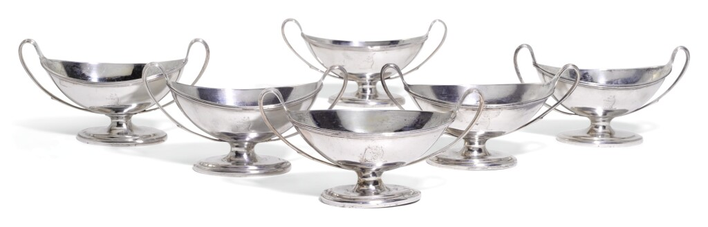 A SET OF SIX GEORGE III SILVER SALTS, CORNELIUS BLAND, LONDON, 1790 AND 1791