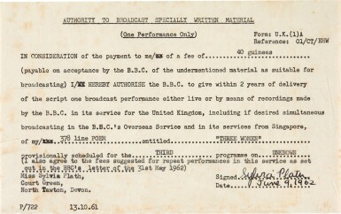 View 1. Thumbnail of Lot 50. Sylvia Plath   Document signed, authorising the BBC broadcast of 'Three Women', 9 June 1962.