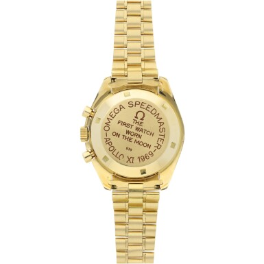 View 5. Thumbnail of Lot 77. REFERENCE 145.022-69 SPEEDMASTER APOLLO XI 1969 A LIMITED EDITION YELLOW GOLD CHRONOGRAPH WRISTWATCH WITH BRACELET, A SELECTION OF WHICH WERE GIFTED TO ASTRONAUTS AND PERSONALITIES, CIRCA 1969.