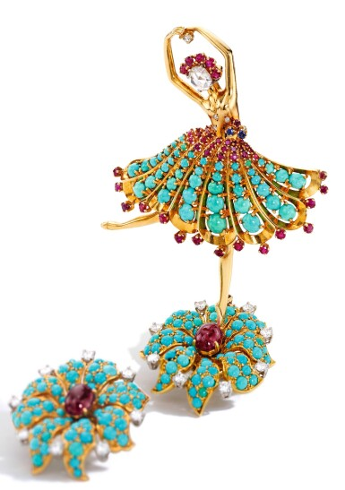 View 2. Thumbnail of Lot 133. Van Cleef & Arpels [梵克雅寶] | Gold, Turquoise, Ruby, Sapphire and Diamond 'Ballerina' Clip-Brooch [黃金鑲綠松石配紅寶石、藍寶石及鑽石「Ballerina」別針].