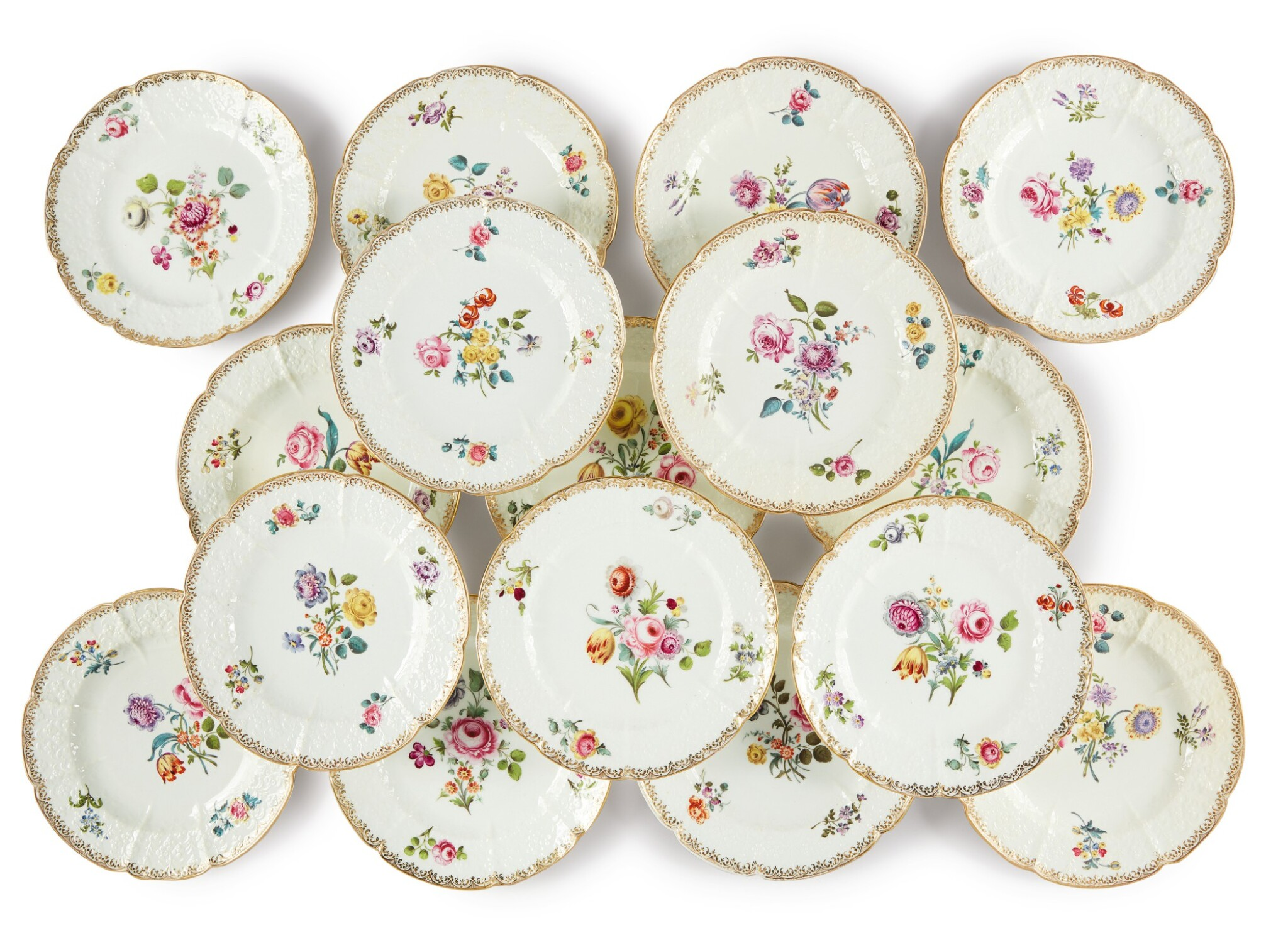View full screen - View 1 of Lot 110. A Set of Sixteen English Porcelain Dinner Plates, Mid-19th Century.