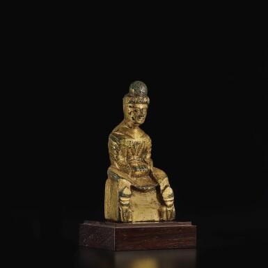 View 3. Thumbnail of Lot 587. A SMALL GILT-BRONZE FIGURE OF BUDDHA,  SIXTEEN KINGDOMS PERIOD.