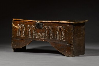 View 3. Thumbnail of Lot 5. A rare English oak boarded and relief carved chest, late 15th / early 16th century.