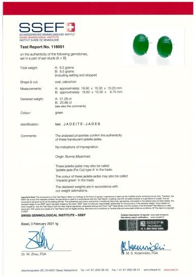 View 4. Thumbnail of Lot 1858. Pair of Imperial Green Jadeite Earrings | 天然「帝王綠」翡翠耳環一對.