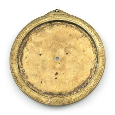 View 3. Thumbnail of Lot 66. A gilt-brass astrolabe signed by Ahmad ibn Abu 'Abdallah al-Qurtubi al-Yamani, North-East Spain, Tudela, dated 737 AH/1336-37 AD.