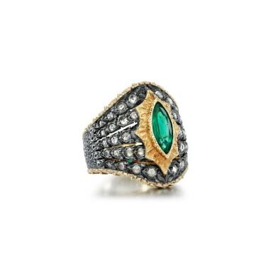 View 2. Thumbnail of Lot 64. Mario Buccellati   Emerald and diamond ring.