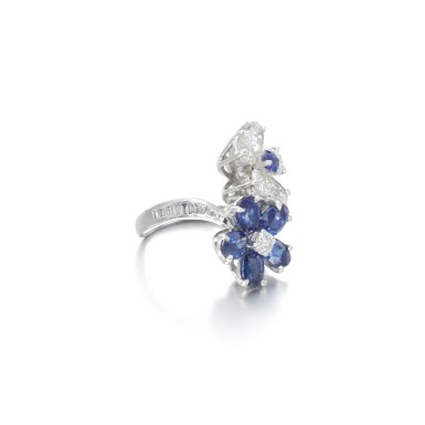 View 2. Thumbnail of Lot 14. Sapphire and diamond ring.