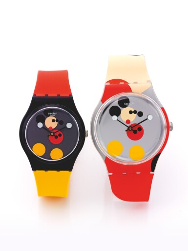 SWATCH | SWATCH X DAMIEN HIRST: SPOT MICKEY & MIRROR SPOT MICKEY A PAIR OF WRISTWATCHES CELEBRATING THE 90TH BIRTHDAY OF MICKEY MOUSE DESIGNED BY DAMIEN HIRST CIRCA 2018