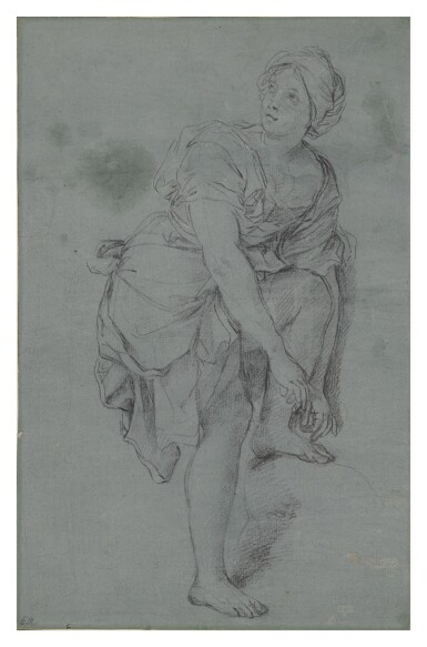 View 2. Thumbnail of Lot 136. A Young Woman Tying Her Sandals.