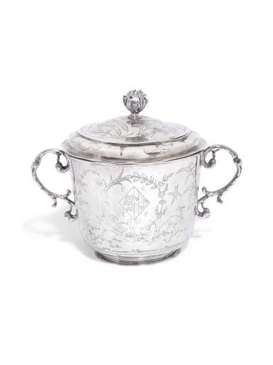 View 1. Thumbnail of Lot 209. A Charles II silver porringer and cover, maker's mark RC within pellets and circle, London, 1683, the cover with maker's mark only struck twice.