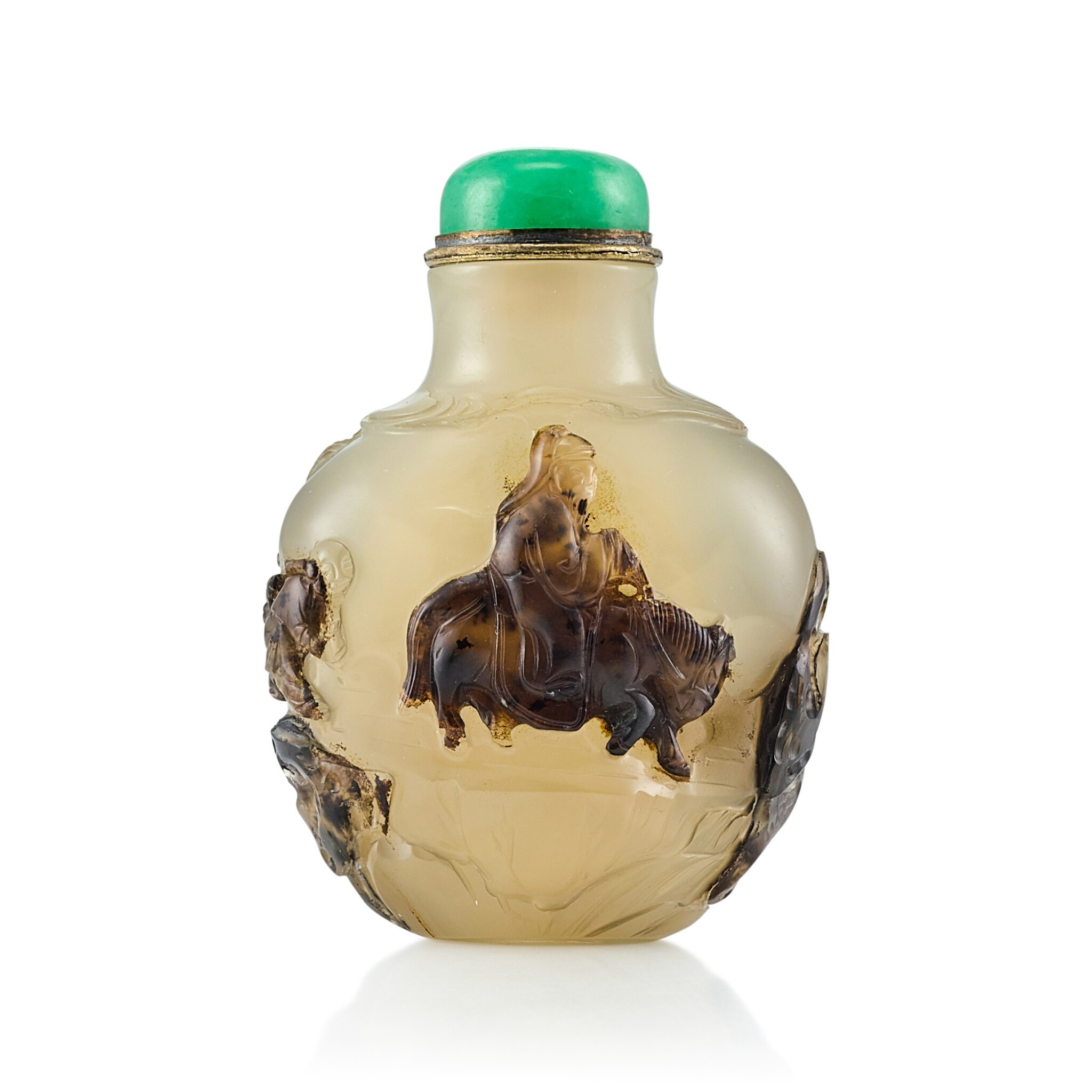 View full screen - View 1 of Lot 3050. An Inscribed Agate 'Equestrian' Snuff Bottle Suzhou, Qing Dynasty, 18th - 19th Century | 清十八至十九世紀 蘇作瑪瑙巧雕「採梅圖」鼻煙壺.