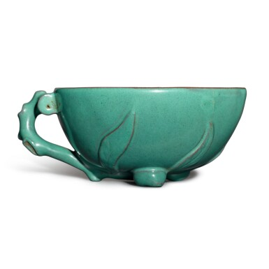 View 1. Thumbnail of Lot 26. A Yixing turquoise-enameled 'peach' cup, 19th / 20th century.