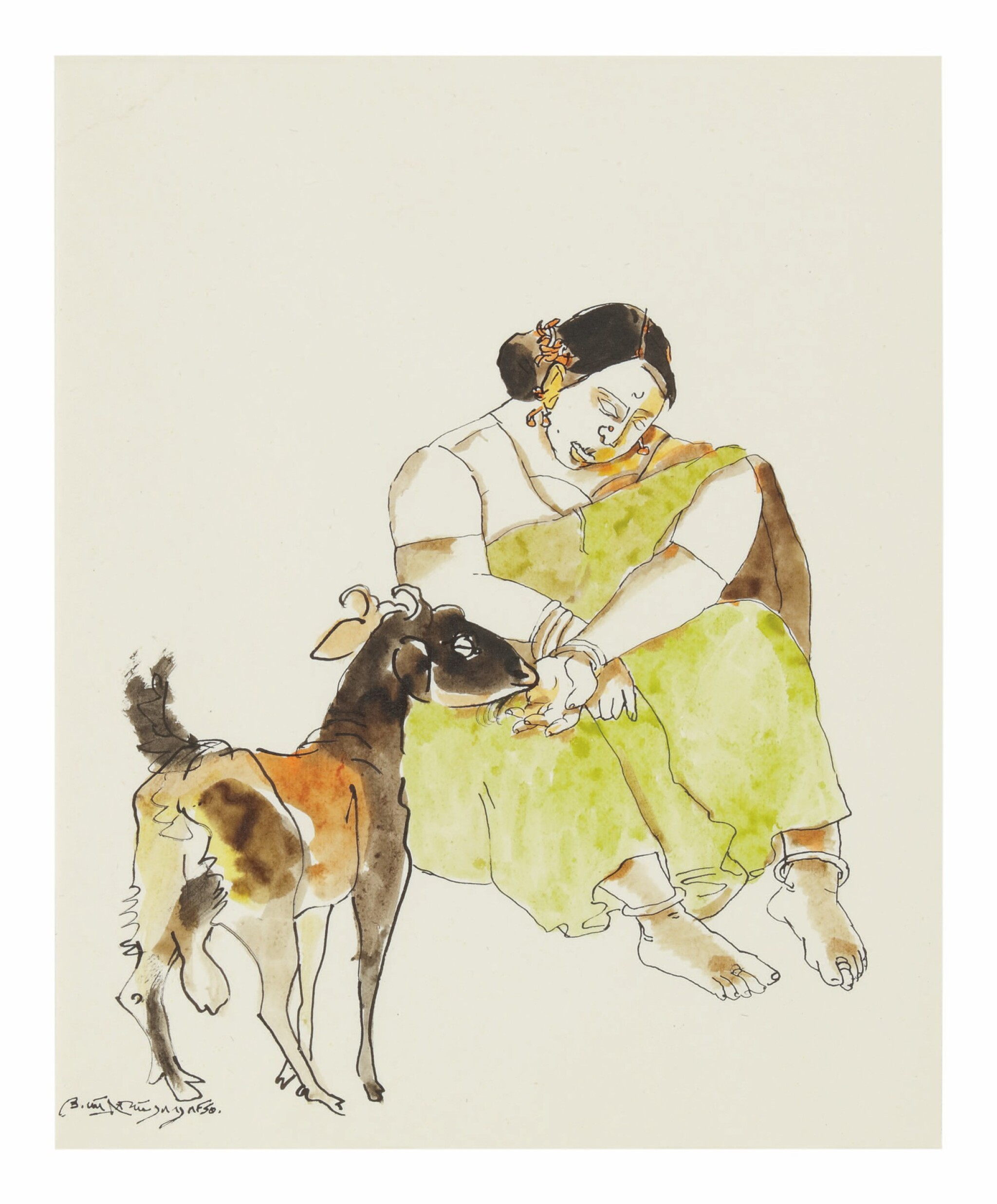 View full screen - View 1 of Lot 1832. K. LAXMA GOUD | UNTITLED (WOMAN WITH GOAT).