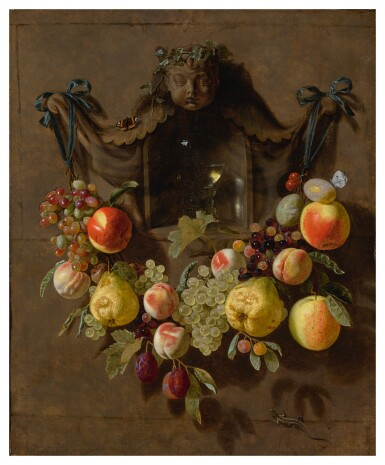 View 1. Thumbnail of Lot 86. Sold Without Reserve   PIETER VAN DEN BOSCH THE YOUNGER   A TROMPE L'OEIL STILL LIFE WITH A SWAG OF GRAPES, PEARS, PEACHES, APPLES, PLUMS, AND BUTTERFLIES DECORATING A NICHE WITH A GLASS ROEMER.