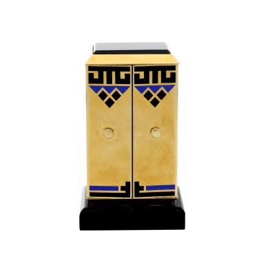 View 4. Thumbnail of Lot 87. A FINE AND RARE YELLOW GOLD, ONYX, ENAMEL AND DIAMOND-SET KEY-LESS DESK TIMEPIECE WITH FOLDING DIAL, CIRCA 1930.