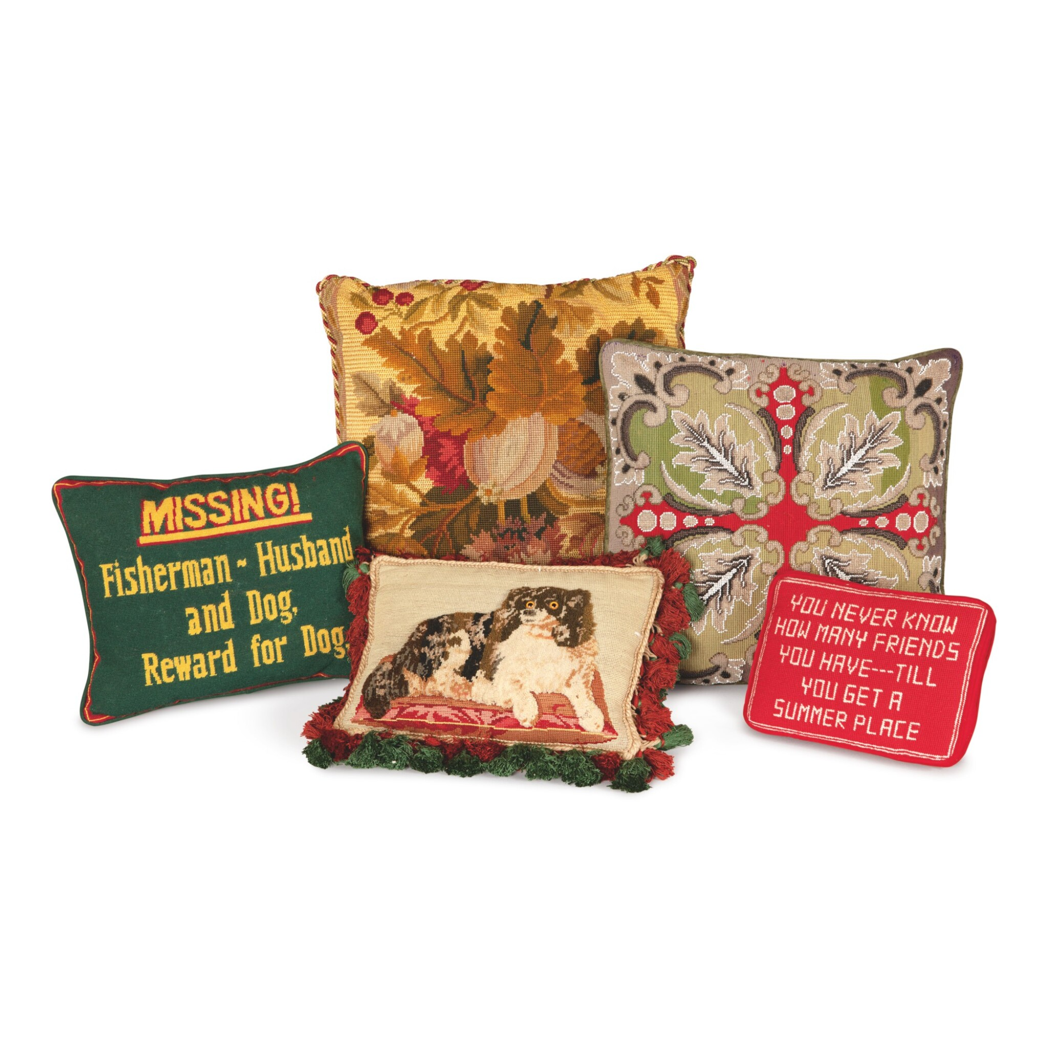 View full screen - View 1 of Lot 77. FIVE DECORATIVE PILLOWS.