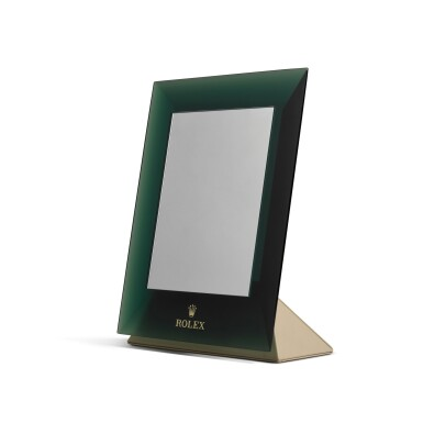View 2. Thumbnail of Lot 728. GREEN PERSPEX RECTANGULAR MIRROR WITH HINGED STAND.