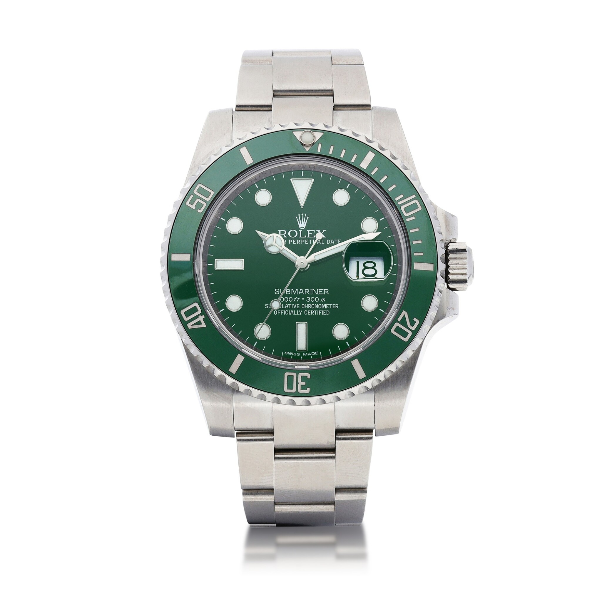 """View 1 of Lot 8027. Rolex   Submariner """"Hulk"""", Reference 116610LV, A stainless steel wristwatch with date and Bracelet, Circa 2013   勞力士   Submariner """"Hulk"""" 型號116610LV   精鋼鏈帶腕錶,備日期顯示,約2013年製."""