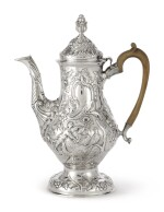 A LARGE IRISH SILVER CHINOISERIE COFFEE POT, CHARLES TOWNSEND OR POSSIBLY CARDEN TERRY OF CORK, DUBLIN, 1772